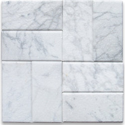 "Stone Center Corp - Carrara White Marble Subway Tile, Tumbled - Premium grade Carrara white marble tile 3"" width x 6"" length x 3/8"" thickness"