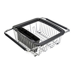KitchenAid - KitchenAid Black 3-in-1 Dish Rack - Dry your dishes with ease with this stainless steel KitchenAid disk rack. This 3-in-1 expandable dishrack fits over one side of a dual sink and features handles,a removable compartment for utensils and soft feet to prevent scratching.