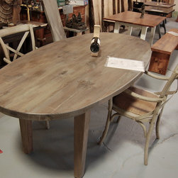 Oval Farm Table - Oval Table Stained Wisteria, a lovely drift-wood-grey. Sturdy square legs.