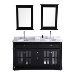 """Design Elements - Imperial 60"""" Double Sink Vanity Set in Espresso - The 60 Imperial vanity set has beveled cabinet edges, Victorian-inspired cabinet door window frames, round satin nickel hardware, and a Carrera white marble countertop, which combine to give it both a traditional and contemporary feel. We call this look """"transitional"""" - a coherent combination of the best of both worlds. The resulting execution showcases elegance and class, compatible with a wide range of bathroom styles and home decor.Quality materials and thoughtful utility underlie the sharp look of this vanity. Solid hardwood is the basis for both the frame and the panels of the vanity, with a water-resistant coating on the panels for durability. The countertop is made of white Carrera marble and frames two round under-mount sinks equipped with polished chrome pop-up drains. Four functional drawers and two soft-closing double-door cabinets hold all your bathroom essentials.Two matching framed mirrors complete this striking vanity set."""