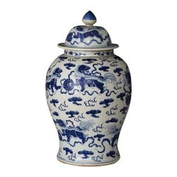 Belle & June - Foo Dog Temple Jar - This exquisite urn will dress up your mantle, sideboard, or your baby grand. If you don't have a fireplace, buffet or piano, place it on your bureau and soak up the beauty.