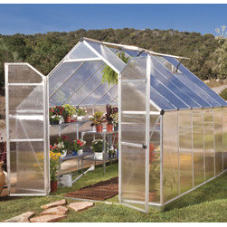 Poly-Tex, Inc. - Essence 8' x 12' Hobby Greenhouse - Silver - Essence 8' x 12' twin wall hobby greenhouse gives you 96 square feet of growing space and is loaded with features. This structure boasts two vent windows for ventilation and a ramp style threshold to accommodate wheel barrows or wheelchairs. Additionally, high clearance, double doors allow for easy access. The reinforced roof and virtually unbreakable polycarbonate 4mm thick panels make the Essence one tough greenhouse. Light weight panels slide into the sturdy rust resistant frame for easy assembly. Definitely the most greenhouse for your dollar!