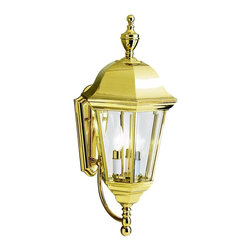 "KICHLER - KICHLER 9489PB LifeBrite Transitional Outdoor Wall Sconce - This collection takes the classic lines of outdoor lanterns and dresses it up in style. Each piece in the collection features Kichler's exclusive LifeBrite Polished Solid Brass, which is guaranteed for a lifetime to look fantastic while being capable of withstanding the harshest elements no matter where you live. Clear beveled glass panels complete the outdoor lanterns' timeless profile. This 3-light wall lantern uses 60-watt (max.) bulbs, is 24"" high, and is U.L. listed for wet locations."