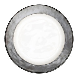 Emerson Pewter Dinner Plate - A glimmering rim of burnished pewter adorns the Emerson Pewter Dinner Plate, bestowing a slender hint of old-world glamour to your dining table. Beautifully suited for a glittering holiday fete or a casual summer soiree out of doors, the dinner plate bestows a chic lustre to your tablescape with its white and pewter colors blended beneath a soft satin glaze.