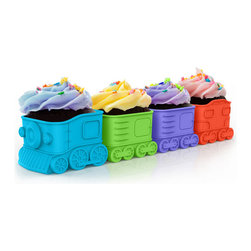 Modern Silicone Cupcake Express Baking Cups - Set Of 4 - All Aboard for fun! This four cupcake train is now departing for your favorite party destination. Load each food-safe silicone car with your favorite cake mix, bake and serve frosted and decorated with your candy cargo