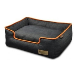 P.L.A.Y. - P.L.A.Y. Urban Denim Lounge Bed Medieval Blue/Mandarin Large - The P.L.A.Y. Urban Denim lounge bed is loved by pets all around because it is made from soft yet toughest denim material there is. The bed is also elevated from the sides so that your pet can have a perfect headrest. This stylish bed is also eco-friendly and can be machine washed to keep it clean. This bed can be your pet's second favorite resting place, after your lap of course! Stylish and timeless denim material with signature P.L.A.Y. leather logo and custom-made P.L.A.Y. zipper. Furniture-grade craftsmanship and even-basting stitching ensures dog-years of use. Filled with the perfect amount and density of high-loft PlanetFill filler. Eco-friendly PlanetFill filler is made from 100% post-consumer certified-safe recycled plastic bottles. Machine washable and dryer friendly. Momo-approved and tested by her four-legged friends.