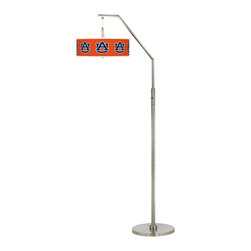 """Collegiate Art Shades - Kids Auburn University Brushed Nickel Arc Floor Lamp - Show your Tigers pride with this lighting design. Whether you're a student alumni or fan this arc floor lamp showcasing the AU logo makes a handsome statement about your school or team spirit. The design comes in a sleek brushed nickel finish and features a plastic diffuser within the shade to prevent glare. U.S. Patent # 7347593. Officially licensed college product. Auburn University® logo. Brushed nickel finish. Diffuser in shade. Two maximum 100 watt or equivalent bulbs (not included). On/off switch. 71 1/2"""" high. Shade is 16"""" wide 5 1/2"""" high. May only be shipped to the 50 United States and U.S. territories possessions or military bases.  Officially licensed college product.   Auburn University® logo.   Go Auburn Tigers!  Brushed nickel finish.  Diffuser in shade.   Takes two maximum 100 watt or equivalent bulbs (not included).   On/off switch.   71 1/2"""" high.   Shade is 16"""" wide 5 1/2"""" high.   May only be shipped to the 50 United States and U.S. territories possessions or military bases."""