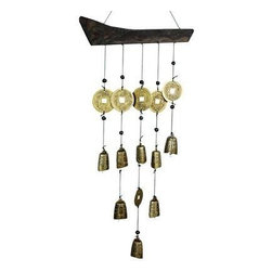 Oriental Furniture - Tibetan Bell Wind Chime - These beautiful wind chimes are made with authentic Tibetan Bells and traditional Chinese coins suspended from a shaped piece of solid wood. Traditionally used in Feng Shui to promote positive energy, these chimes create gentle, soothing sounds when placed indoors or outside.