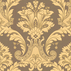 Metallic Gold and Chocolate Damask Wallpaper - Give your walls a traditional look with a modern flare with wallpaper from the Regent Collection by Brewster.