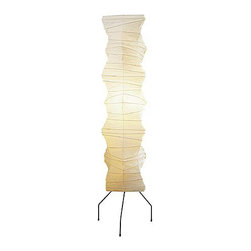 Akari Freeform Column Floor Lamp - Delicately organic in form, the Akari Freeform Column Floor Lamp is handmade from washi paper and shaped on a frame of higo bamboo ribbing and steel. When lit it gives off a soft glow, giving you an instant atmosphere.