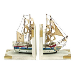 Benzara - Nautical Coastal Book Ends As A White Trade Ship - This ocean adventure themed book end set is made with great detail in the all white hull and the sails of the trade ship. An adventure on the in. H seas awaits anyone who places their volumes here. Use them perfectly on your favorite bookshelf or on the fireplace mantle.