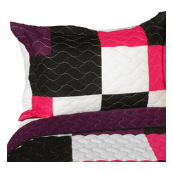 Blancho Bedding - Afterglow 3PC Vermicelli - Quilted Patchwork Quilt Set  Full/Queen Size - The [Afterglow] 100% TC Fabric Quilt Set (Full/Queen Size) includes a quilt and two quilted shams. This pretty quilt set is handmade and some quilting may be slightly curved. The pretty handmade quilt set make a stunning and warm gift for you and a loved one! For convenience, all bedding components are machine washable on cold in the gentle cycle and can be dried on low heat and will last for years. Intricate vermicelli quilting provides a rich surface texture. This vermicelli-quilted quilt set will refresh your bedroom decor instantly, create a cozy and inviting atmosphere and is sure to transform the look of your bedroom or guest room. (Dimensions: Full/Queen quilt: 90.5 inches x 90.5 inches; Standard sham: 24 inches x 33.8 inches)