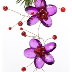 Sitara Collections - Handmade Purple Acrylic Double Flower Holiday Ornament with Mini Glass Beads - Purple acrylic Flowers ornament with Glass Beads.