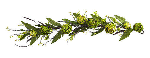 Nearly Natural - 4' Artichoke & Berry Garland - Here's the perfect piece for anywhere you want an unusual or eclectic look. This Artichoke and Berry Garland is a full four feet of (artificial) twigs, sprigs, artichoke blooms, and, of course, berries. It's a striking garland, certain to draw the eye and elicit comments, and is perfect for a fresh, natural look year-round, in both home or office. Makes a great gift, too.