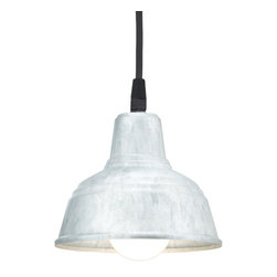 MINI DERBY WAREHOUSE SHADE CORD-HUNG CEILING LIGHT - Mini Derby shown in 96-Galvanized finish with BLO-CB8 Mounting