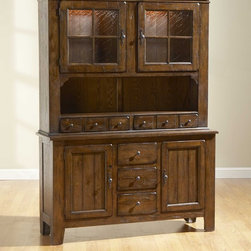 Broyhill - Attic Heirlooms China Door Hutch and Base in Rustic Oak - 5399-65H - Rustic Oak, as shown (Order as item 5399-65H)