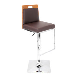 "Lumisource - Upscale Barstool Medium Bamboo - Sustainability meets modern design with the Upscale barstool. Both polished chrome footrest and unique square trumpet base add depth to the rich dark brown padded seating area and medium brown bamboo back.  Seat height adjusts from 24.5"" to 33.5""  and this barstool swivels 360 degrees."