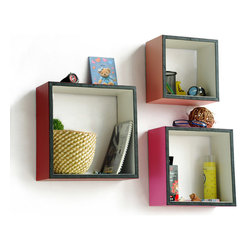 Blancho Bedding - [Sweet Sixteen]Square Leather Wall Shelf / Bookshelf / Floating Shelf (Set of 3) - These square wall cube shelves add a new and refreshing element to your room and can be easily combined with other pieces to create a customized wall space. Coming in various colors and sizes, they spice up your home's decor, add versatility, and create a whole new range of storage spaces. You can hang them on the wall, or have them stand on table or floor, any way you like. Perfect for wall mounting, these modern display floating shelves are sure to delight. Constructed from MDF with a top faux leather wrapping. Fashion forward design has never been so functional. This range of faux leather storage cubes is sure to delight! Easy to mount, easy to love! Attractive shelf boxes give any wall in your home a striking appearance. Arrange in whatever fashion you like - whether it be grouped together or displayed separately. Each box serves as a practical shelf, as well as a great wall decoration.