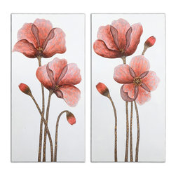 Uttermost - Floral Aura Art, Set of 2 - Ask nature to come in and take a place on your wall. These hand-painted flowers of soft reds and yellows are delicate yet stately as they rise on sturdy stems and reach for the sky. Your spirits will rise right along with them so hang them where you need inspiration — your office perhaps.