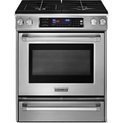 KitchenAid KDSS907XSP 30&quot; Slide-in Dual-Fuel Range with 4 Sealed Burners, 4.1 cu