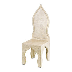 Currey and Company - Pontiff Chair - The Moroccan inspired Pontiff Chair is graceful and sturdy. Concrete is applied to a stout steel frame and is given a Polished finish adding an elegant sheen to the piece.
