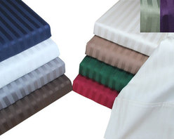 Bed Linens - Egyptian Cotton 400 Thread Count Stripe Duvet Cover Sets Twin Light Blue - 400 Thread Count Stripe Duvet Cover Sets
