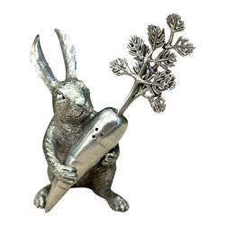 Pewter Rabbit Carrot Salt & Pepper Set - A whimsical yet sophisticated addition to a spring or summer tablescape, an Easter holiday buffet, or a baby shower. The Pewter Rabbit Carrot Salt & Pepper Set is cast in precious pewter and hand finished in remarkable detail. The set allows you to present a seasoning staple in a delightful and unexpected form.