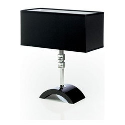 ITALAMP - ITALAMP 8004 Carre Table Lamp - The 8004 Carre Table Lamp has been designed and made in Italy by the manufacturer Italamp. 8004 Carre table light is a contemporary lamp made of crystal, Swarovski elements, metal and fabric. This modern table lamp is an impresive presence in any kind of room, bringing a touch of nowelty to the environment where it is placed. Available in two dimensions with its rectangular shape, Carre lamp consists of a metal structure which sustains its curved base and transparent crystal leg with chromed shade finishes and a lampshade in black color tone. On its leg the lamp has two small square details in Swarovski crystals in several colors, transparent, blue and acid green. The light fixture has a diffused light is dimmable and when is turned on the lamp diffuses a parade of light with bright personality. Illumination is provided by E26, 60/100W Halogen, or 15/20W Energy Saving, or 10W LED bulb (not included).      Product Details: The 8004 Carre Table Lamp has been  designed  and made in Italy by the manufacturer Italamp. 8004 Carre table light is a contemporary   lamp made  of  crystal, Swarovski elements, metal and fabric. This modern table lamp is an impresive presence in any kind of room, bringing a touch of nowelty to the environment where it is placed. Available in two dimensions with its rectangular shape, Carre lamp consists of a metal structure which sustains its curved base and transparent crystal  leg with chromed shade finishes and a lampshade in black color tone. On its leg the lamp has two small square details in Swarovski crystals in several colors, transparent, blue and acid green. The light fixture has a diffused light  is dimmable and when is turned on the lamp diffuses a parade of light with bright personality.  Illumination is provided by E26, 60/100W Halogen, or 15/20W Energy Saving, or 10W LED bulb (not included). Details:                         Manufacturer:            Italamp                            Design