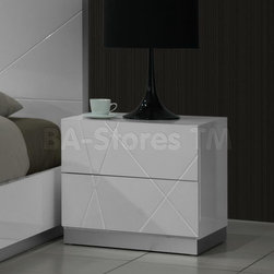 White Lacquered Naples Nightstand -