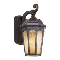 Joshua Marshal - One Light Weathered Bronze Tea Stain Octagon Frame Glass Wall Lantern - One Light Weathered Bronze Tea Stain Octagon Frame Glass Wall Lantern