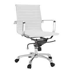 Discovery Modern Mid Back Office Chair, White - This well-designed office chair comes with highly polished chrome-plated steel frame, tension knob & tilt lever,  tilt lock mechanism, fully height adjustable seat with a 360 degree swivel and 5-caster hooded base.