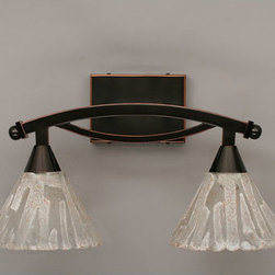 Toltec Lighting - Bow Black Copper Two-Light Bath Bar with Italian Ice Glass - - 7 Italian Ice Glass   - Bulbs not included Toltec Lighting - 172-BC-7195