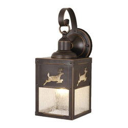 Vaxcel Lighting - Vaxcel Bryce Outdoor Wall Light - 5W in. Burnished Bronze - OW33553BBZ - Shop for Wall Mounted from Hayneedle.com! The form of the Vaxcel Bryce Outdoor Wall Light - 5W in. Burnished Bronze has classic lantern touches but the motif of running deer adds a lighthearted rustic feel that will be right at home outside your home ski-lodge or hunting cabin. This wet-rated fixture has a sturdy metal design that s finished with the look of well-worn bronze over a shade of seeded glass. The clear seeded glass will give the 60-watt medium-base bulb a warm twinkling light that will make sure you always know where home is.About Vaxcel LightingFor over 20 years Vaxcel International has been a premier supplier of residential lighting products. Based in Carol Steam Ill. Vaxcel's product line is composed of more than 2 000 items ranging from builder-ready fixtures and ceiling fans to designer chandeliers and lamps in the latest styles and finishes. They're known in the industry for offering a full selection of products at competitive prices.