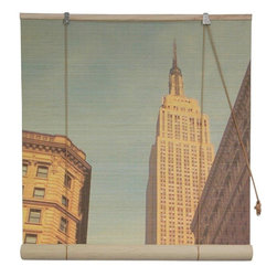 Oriental Furniture - Empire State Building Bamboo Blinds - (48 in. x 72 in.) - This stunning blind features a majestic view of New York's Empire State Building rendered in high definition on all natural bamboo matchstick slats. Easy to set up and install, this sophisticated blind makes a chic statement in any home or business.