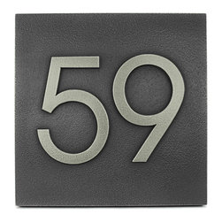 "Modern Advantage Home Numbers 8"" x 8"" in Silver Nickel - We think the large very readable digits on the Modern Advantage Home Numbers Plaque will enhance the strong lines of your mid-century style home. Perfect for any structure with a strong presence that requires and can support bold accessories. Although not an exact match, the Advantage Book Font is very close to the Neutra Typeface and can make your address numbers a standout in the neighborhood."