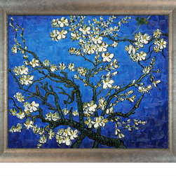 "overstockArt.com - Van Gogh - Branches Of An Almond Tree In Blossom (Sapphire Blue) with Silver Sco - Designed by Amit Yaari this is a hand painted oil interpretation of famous Van Gogh painting Branches of an Almond Tree in Blossom. The original masterpiece was created in 1890. Van Gogh created this painting as a gift for his newborn nephew. The way he made is brush strokes were fitting to the baby because he combined a sense of fragility and energy. A joyous and hopeful image for the child's future. Vincent Van Gogh's restless spirit and depressive mental state fired his artistic work with great joy and, sadly, equally great despair. Known as a prolific Post-Impressionist, he produced many paintings that were heavily biographical. This work of art has the same emotions and beauty as the original. Why not grace your home with this reproduced masterpiece? It is sure to bring many admirers! Frame Description: Baroque Wood Frame - Antiqued Gold Finish Framed painting size (not including frame): Classic 20"" X 24"" . Framed Oil reproduction of an original painting by Vincent Van Gogh"
