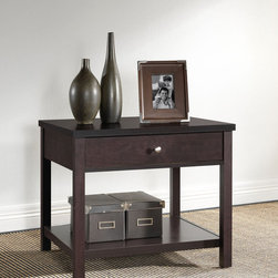 Baxton Studio - Nashua Brown Modern Nightstand - Keep essential items easily at hand with this modern brown nightstand. Crafted of durable engineered wood, this nightstand features silvertone hardware for a sophisticated touch. A single drawer and bottom shelf offer convenient storage.