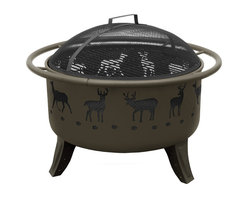 Landmann - Deer Patio Lights, Metallic Brown/Matte Black Screen - This portable fire pit, with its whimsical deer design, will bring light and warmth to your deck or patio. Constructed of steel with four sturdy legs and side handles for easy placement, it offers a view of the crackling fire from any angle. A poker is included, and it comes with in black or metallic brown with a black screen.
