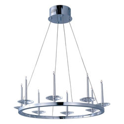 ET2 Lighting - ET2 Lighting-E23183-20PC-Circolo - Eight Light Pendant - If the Knights of the Round Table met in the 21st century, they would have gathered under an impressive Circolo pendant. Harmonious concentric circles suspended from delicate cables seem to defy gravity as they support Polished Chrome pillars standing vigil on regal rings. The Xenon lamps boost the luminosity and make the piece as practical as it is beautiful.