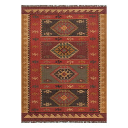 Jaipur Rugs - Flat-Weave Tribal Pattern Jute Red/Yellow Area Rug (2 x 3) - The Bedouin collection is hand woven in wool and jute . It has a rustic ,authentic look inspired by traditional kilimm patterns in rich rusts, blues and golds. The collection has a vintage, eclectic look that can easily be mixed and matched with its coordinating pillow and pouf collection.