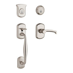 Baldwin Hardware - Tahoe Double Cylinder Left-Handed Handleset with Wave Lever in Satin Nickel - Feel the difference Baldwin hardware is solid throughout, with a 60 year legacy of superior style and quality. Baldwin is the choice for an elegant and secure presence.
