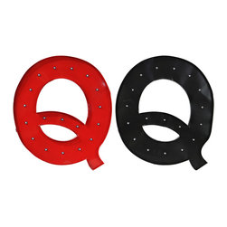 "Metal Wall Decor Letter ""Q"" w/ LED Light Two Assorted Color - *Metal Wall Decor Letter ""Q"" with LED Light Assortment of Two Assorted Color (Black and Red)"