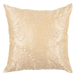 Surya - Surya Striking Stich Pillow, Poly Fiber Filler - Give your space its own happily ever after with this flawless pillow from the Candice Olsen collection. Sure to catch more than a few eyes, the sleek pairing of blond and caramel serves as the perfect backdrop for the intricate embroidery, allowing the design to pop within any space. This pillow contains a zipper closure and provides a reliable and affordable solution to updating your home's decor.