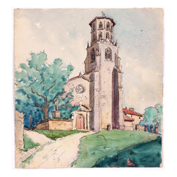 French Bell Tower, C. 1930 by Raoul Monory Original Watercolor - A stately bell tower stands tall above a small French village in this masterful watercolor from the 1930s. Unsigned, estate stamp for Raoul Monory on verso. A French artist, Monory also served as a colonel in the French army and was one of Charles de Gaulle's military instructors. As an artist, he studied under the French artists Etienne Dinet and Jean Gobaille. Unframed.