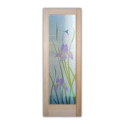 """Iris 3D Painted Glass Front Doors - Glass Entry Doors Sandblast Frosted Glass De - Glass Front Doors, Entry Doors that Make a Statement! Your front door is your home's initial focal point and glass doors by Sans Soucie with frosted, etched glass designs create a unique, custom effect while providing privacy AND light thru exquisite, quality designs!  Available any size, all glass front doors are custom made to order and ship worldwide at reasonable prices.  Exterior entry door glass will be tempered, dual pane (an equally efficient single 1/2"""" thick pane is used in our fiberglass doors).  Selling both the glass inserts for front doors as well as entry doors with glass, Sans Soucie art glass doors are available in 8 woods and Plastpro fiberglass in both smooth surface or a grain texture, as a slab door or prehung in the jamb - any size.   From simple frosted glass effects to our more extravagant 3D sculpture carved, painted and stained glass .. and everything in between, Sans Soucie designs are sandblasted different ways creating not only different effects, but different price levels.   The """"same design, done different"""" - with no limit to design, there's something for every decor, any style.  The privacy you need is created without sacrificing sunlight!  Price will vary by design complexity and type of effect:  Specialty Glass and Frosted Glass.  Inside our fun, easy to use online Glass and Entry Door Designer, you'll get instant pricing on everything as YOU customize your door and glass!  When you're all finished designing, you can place your order online!   We're here to answer any questions you have so please call (877) 331-339 to speak to a knowledgeable representative!   Doors ship worldwide at reasonable prices from Palm Desert, California with delivery time ranges between 3-8 weeks depending on door material and glass effect selected.  (Doug Fir or Fiberglass in Frosted Effects allow 3 weeks, Specialty Woods and Glass  [2D, 3D, Leaded] will require approx. 8 w"""
