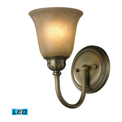 ELK - ELK 11423/1-LED Bathbar - Caramel Amber Glass - LED Offering Up To 800 Lumens (60 Watt Equivalent) With Full Range Dimming. Includes An Easily Replaceable LED Bulb (120V).