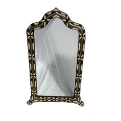 Kenza - Moroccan Mirror - Moroccan Mirror with an arch shape. Walnut frame with camel bone and silver metal inlay.