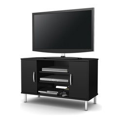South Shore - Corner TV Stand in Black - Accessories not included. Non toxic laminated particle ...