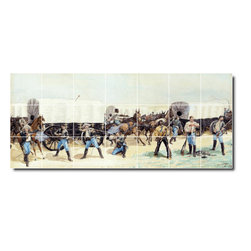 Picture-Tiles, LLC - Attack On The Supply Train Tile Mural By Frederic Remington - * MURAL SIZE: 24x56 inch tile mural using (21) 8x8 ceramic tiles-satin finish.