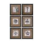 Uttermost - Uttermost 55000  Symbols Wall Art Set/6 - Prints feature a glossy finish and are accented by medium brown burlap mats. frames are finished in heavily distressed black with brown and gray accents.